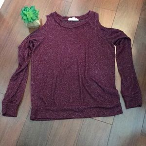 Pink Rose Burgandy Womens Small Cold Shoulder Top